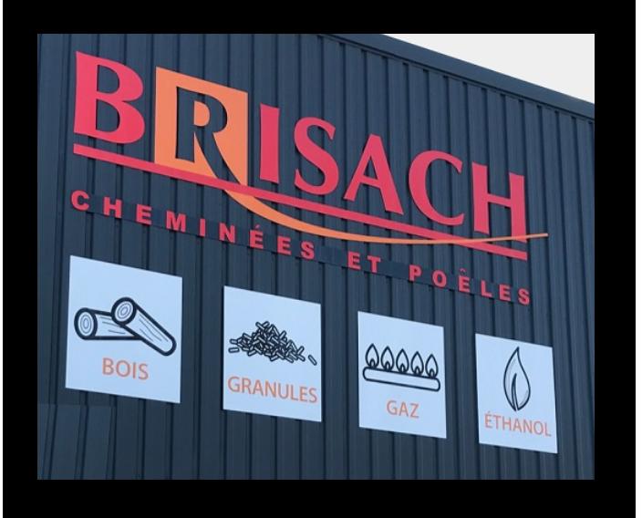 Enseigne Brisach Les Herbiers cheminées Cholet Poeles